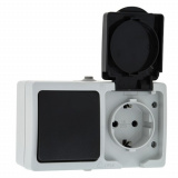 Венеция Блок Розетка-выключатель 1-кл 16А с з/к с крышкой IP54 серый с защ. штор. EKF