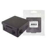 Распаячная коробка ОП 100х100х55мм, крышка, IP54, 8вх., черная, инд. штрихкод TDM