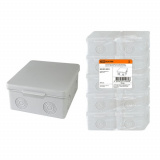 Распаячная коробка ОП 100х100х55мм, крышка, IP54, 8вх., без гермовводов TDM