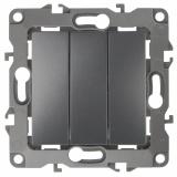 12-1107-12 Эл/ус ЭРА Выключатель тройной, 10АХ-250В, IP20, Эра12, графит