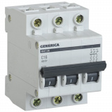 Автоматический выключатель ВА 47-29 3Р 16А 4,5кА х-ка С GENERICA