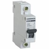 Автоматический выключатель ВА 47-29 1-п 63А. 4,5кА х-ка С GENERICA