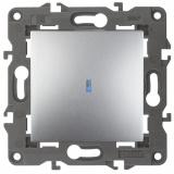 14-1102-03 Эл/ус ЭРА Выключатель с подсветкой, 10АХ-250В, IP20, Эра Elegance, алюминий