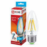 Лампа светодиодная LED-СВЕЧА-deco 7Вт 230В Е27 4000К 630Лм прозрачная IN HOME