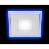 Светильник LED 4-6 BL светодиодный квадратный c cиней подсветкой LED 6W 220V 4000K ЭРА