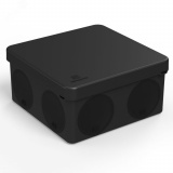 Коробка распределительная 60-0300-9005 для прямого монтажа двухкомпонентная безгалогенная (HF) черная 100х100х50