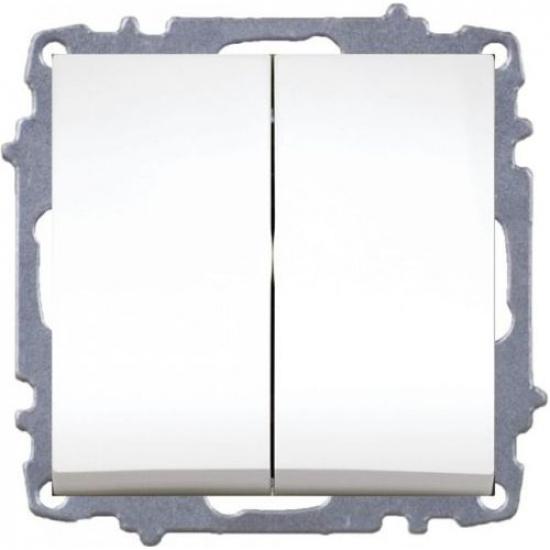 Выключатель 2 кл. белый б/р ZENA 609-010200-202 - 1