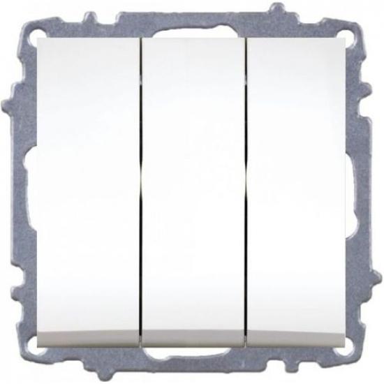 Выключатель 3 кл. белый б/р ZENA 609-010200-254 - 1