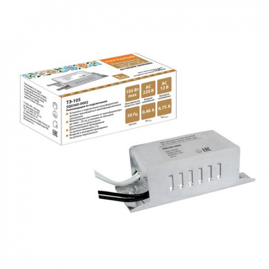 Трансформатор электронный ТЭ-105 220В/12В 35-105Вт нар. TDM - 1