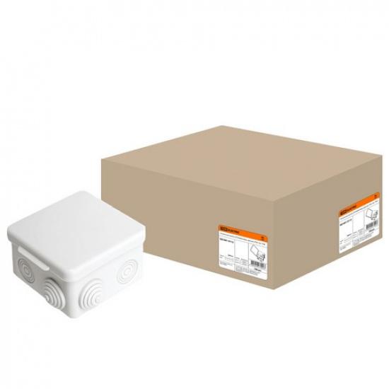 Распаячная коробка ОП 80х80х50мм, крышка, IP54, 7вх. TDM - 1
