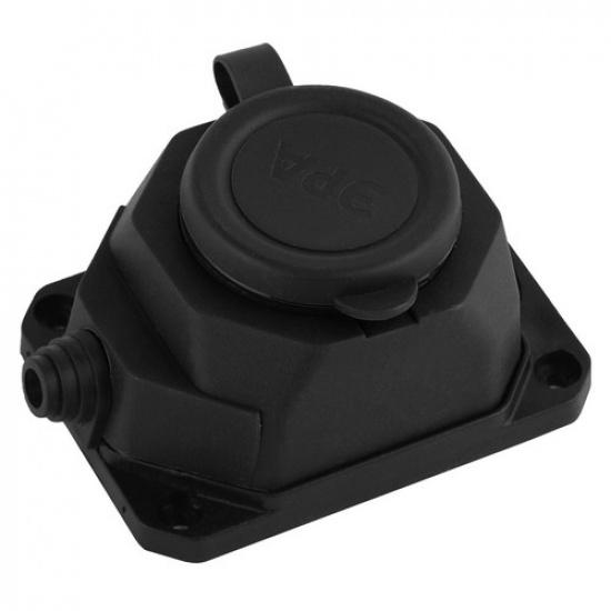 Колодка каучуковая K-1e-B-IP44  с/з 1гн 16A IP44 черная ЭРА - 1